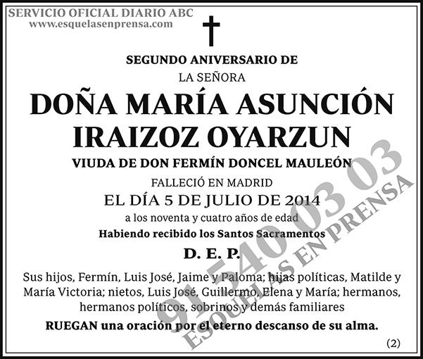 María Asunción Iraizoz Oyarzun